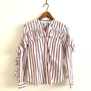 Anthropologie Belle Vere Ruffle Striped Shirt